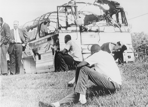 History Photograph - Freedom Riders Bus Was Destroyed by Everett