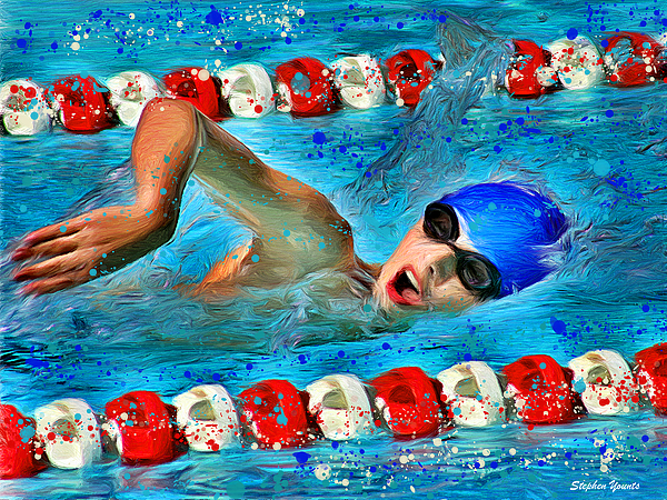 Swimmer Digital Art - Freestyle by Stephen Younts