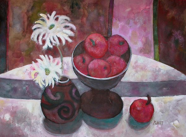 Still Life Painting - French Apples With Daisies by Lorraine Platt