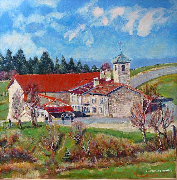 Landscape Painting - French  Mountain  Farm by Chevassus-agnes Jean-pierre