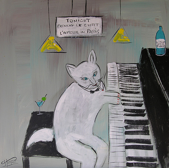 Cat Painting - Frenchy Playing Piano by Frenchy Le Chat