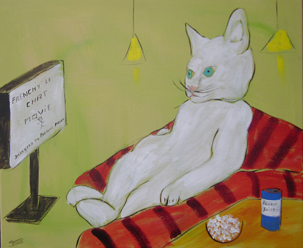 Cat Painting - Frenchy Watching Movie by Frenchy Le Chat