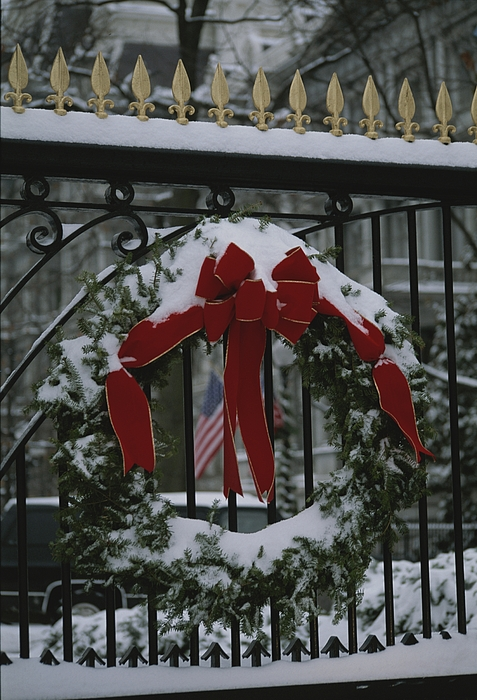 North America Photograph - Fresh Snow Covers A Christmas Wreath by Stephen St. John