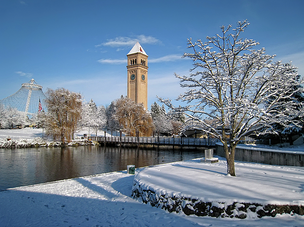 Riverfront Park Photograph - Fresh Snow In Riverfront Park - Spokane Washington by Daniel Hagerman