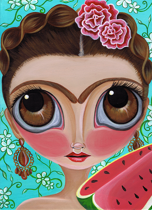 Frida Painting - Frida And The Watermelon by Jaz Higgins