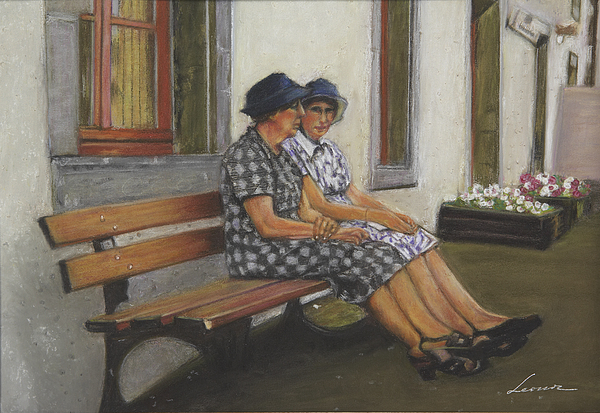 Ladies Talking Pastel - Friends Seated In Bench by Leonor Thornton