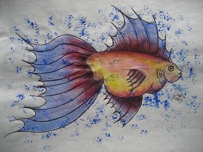 Water Painting - Frisky Fish by Virginia Patrick