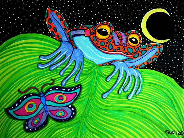Frog Drawing - Frog Moon And Butterfly by Nick Gustafson
