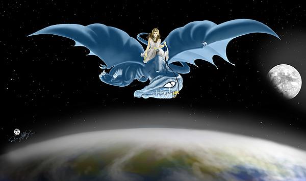 Dragon Digital Art - From Heaven To Earth Came by Devaron Jeffery