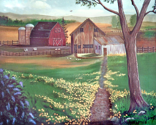 Farm Painting - From The Back Porch by Eileen Blair