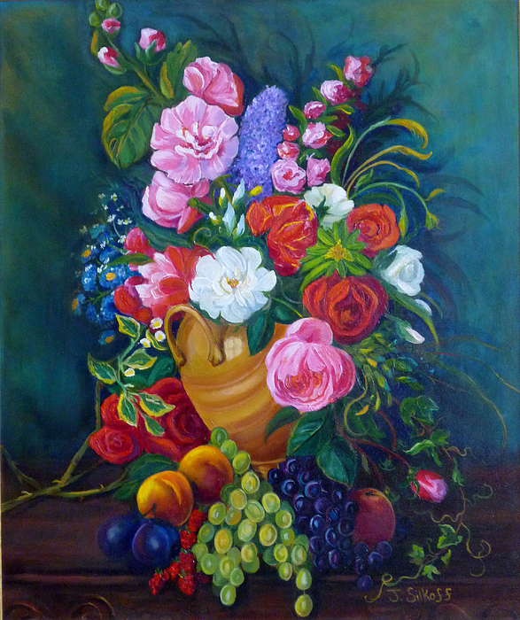 Flowers Painting - Fruit And Flowers by Janet Silkoff