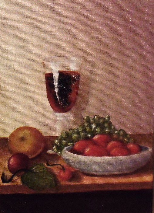 Fruit And Wine Painting - Fruit  And  Wine   A by Helen Thomas