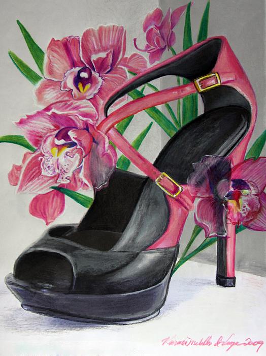 Fuschia Mixed Media - Fuchsia Orchid Colour Block by Karon Melillo DeVega
