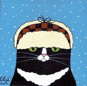 Cat Painting - Fudd Hat Cat by Olga Linville