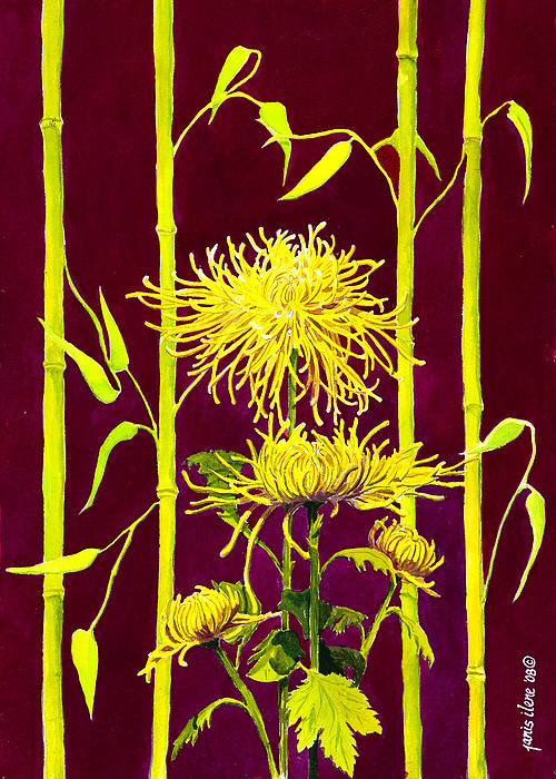 Flower Painting - Fuji Mums And Bamboo by Janis Grau