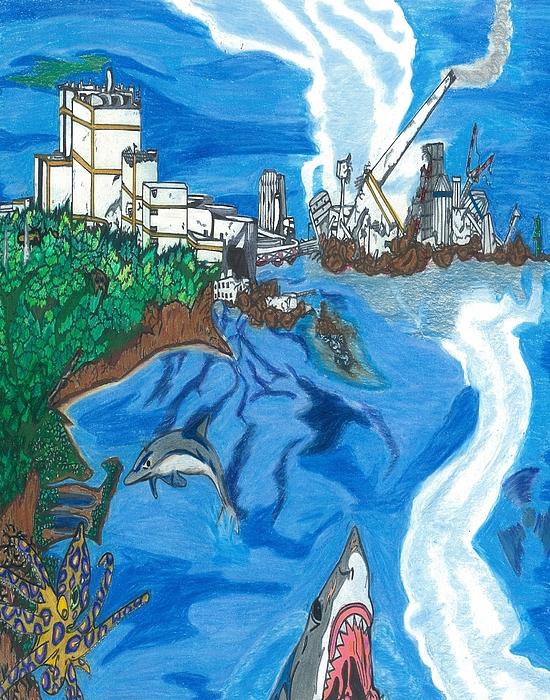 Japan Drawing - Fukushima Daiichi In Ruin by Justin Chase