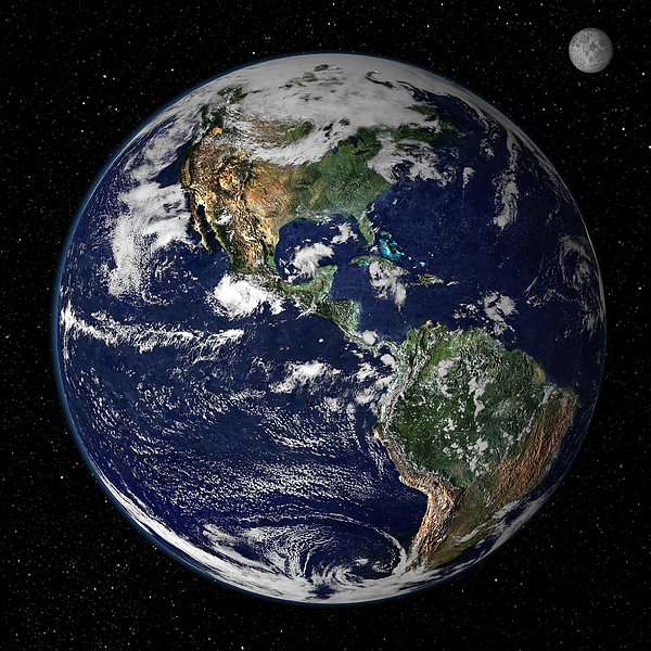 Square Image Photograph - Full Earth Showing North And South by Stocktrek Images