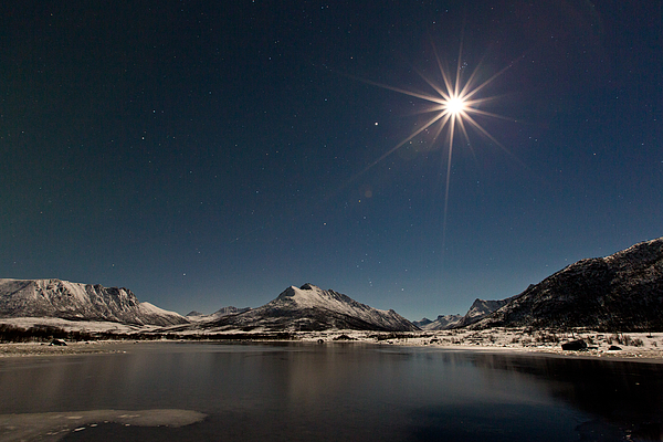 Landscape Photograph - Full Moon In The Arctic by Frank Olsen