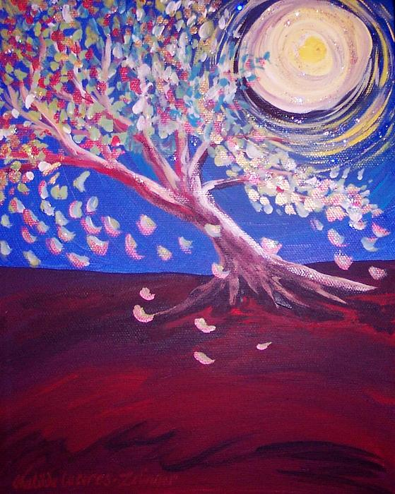 Tree Painting - Full Moon by Matilde Caceres-Zelinger