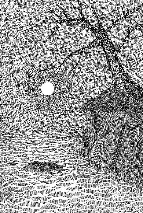 Moon Drawing - Full Moon On A Far Shore by Melanie Rochat