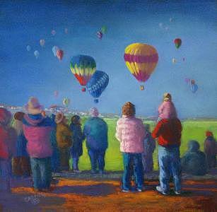 Balloons Painting - Full Of Hot Air by Jo Castillo