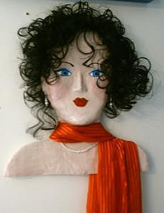 Papier Mache Sculpture - Funky Mama - Iris by Trish Laffrenere