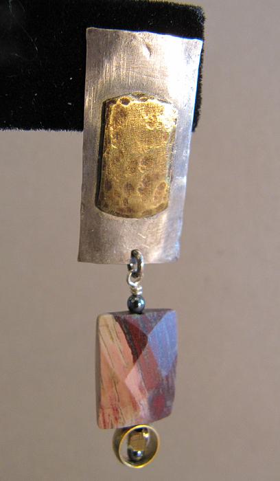 Graphic Jewelry - Fused Barss On Sterling Silver Poppy Jasper Earrings by Brenda Berdnik