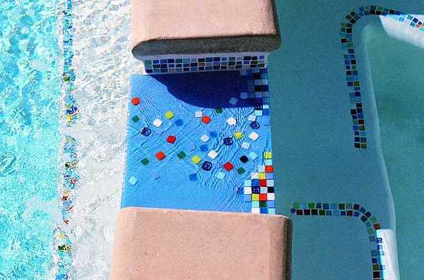 Spillway Glass Art - Fused Glass Spillway In Custom Mosaic Pool Liner by Jolinda Marshall