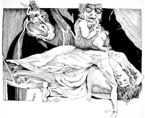 Nightmare Drawing - Fuseli Nightmare by Gary Peterson