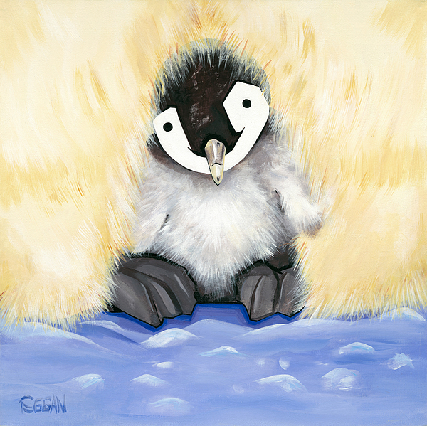 Penguin Painting - Fuzzy Baby by Michelle  Eggan