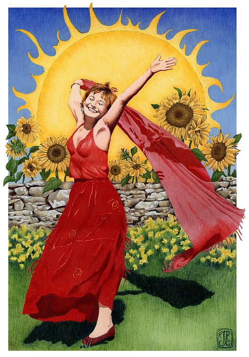 Tarot Painting - Gaian Tarot Sun by Joanna Powell Colbert
