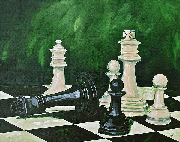 Toys / Games Kids Games Chess Game King Kids Toys  Painting - Game Over by Herschel Fall