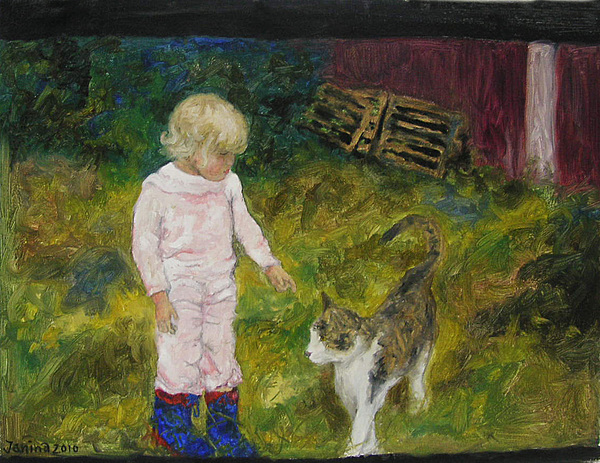Cat Painting - Gamleby by Janina Magnusson