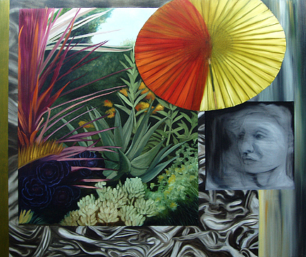 Imaginary Painting - Garden And Umbrella by Anne Bradford