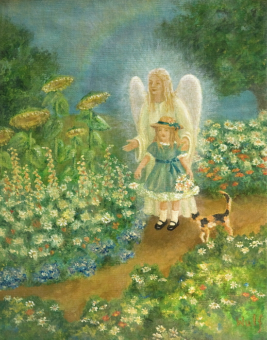 Garden Angel Painting by Bernadette Wulf