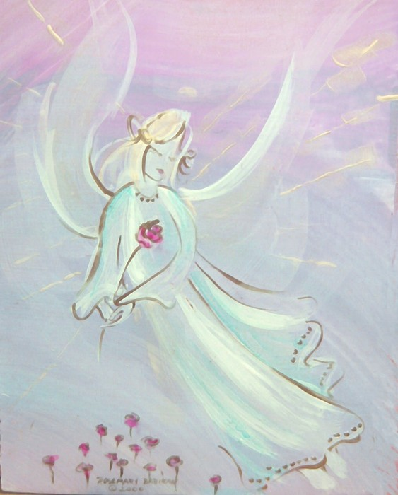 Angels Painting - Garden Angel by Rosemary Babikan