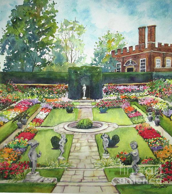 Hampton Court Palace Painting - Garden At Hampton Court Palace by Susan Herbst
