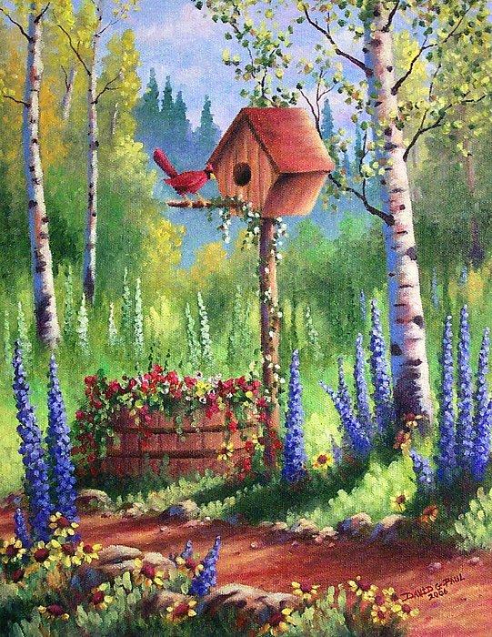 Bird Painting - Garden Birdhouse by David G Paul