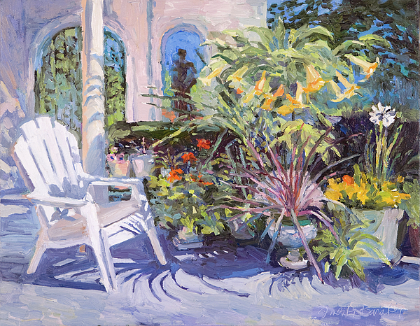 Chair Painting - Garden Chair In The Patio by Judith Barath