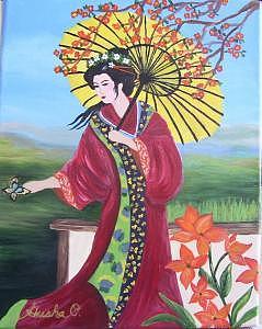 Garden Geisha Painting by Casa Tavio