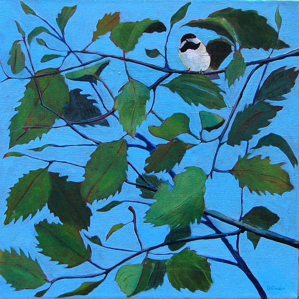 Chickadee Painting - Garden Guest by Scott Gordon