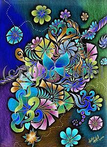 Colorful Drawing - Garden Of Eden Invert by Hollie Leffel