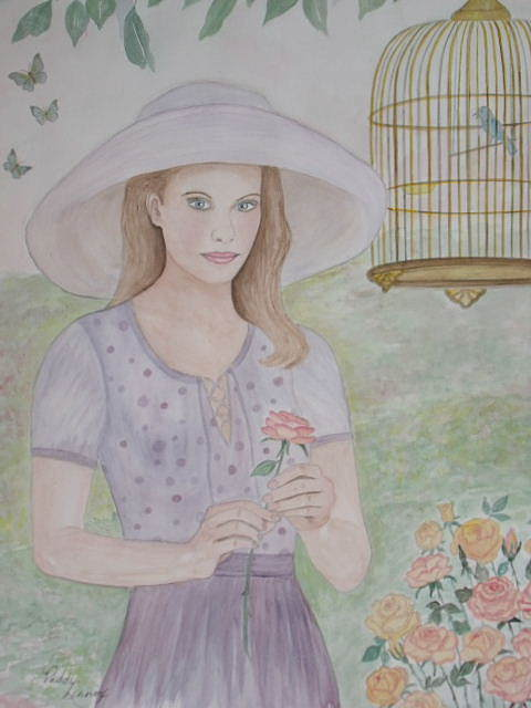 Young Lady Painting - Garden Party by Patti Lennox