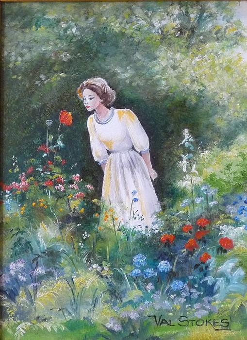 Garden Painting - Garden Walk A by Val Stokes