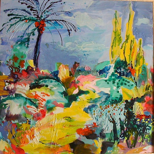 Landscape Painting - Garden With Palm Tree by Maria Antonia Cerda