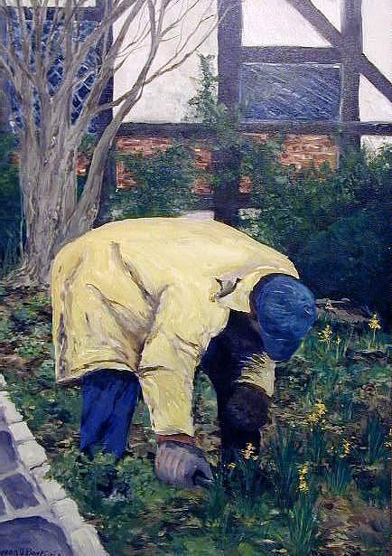 Landscape Painting - Gardner At Ann Hathaways by Steven Bower
