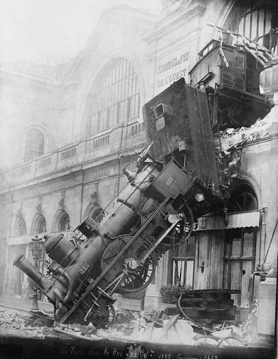 Historic Photograph - Gare Montparnasse Train Wreck 1895 by Photo Researchers