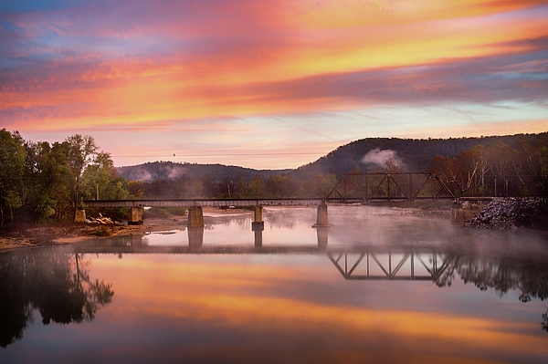 Bridge Photograph - Gasconade River Sunrise by Jae Mishra