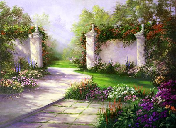 Landscape Painting - Gates In Menlo Park by Gail Salitui