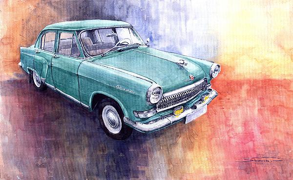 Vintage Painting - Gaz 21 Volga by Yuriy  Shevchuk